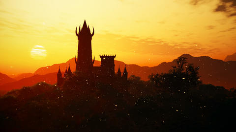Fantasy Castle Sunset with Fire Flies in a Mysterious Land 3D Animation Animation
