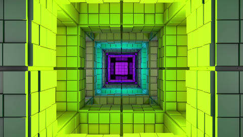 4K Science Fiction Minimalist Cube Color Changing Maze 3D Animation Animation