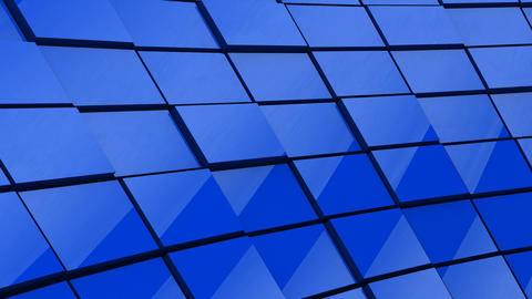 Minimalist Reflective Blue Cubic Blocky Wall 3D Background Animation Animation