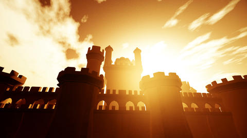 Medieval Castle with Bastions in the Sunset 3D Animation Animation