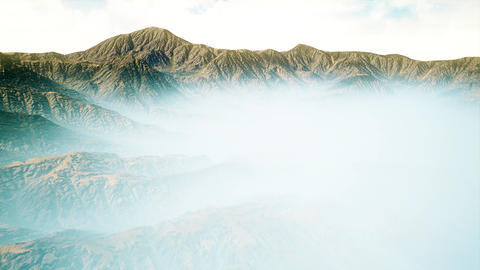 4K Foggy Mysterious Valley Aerial 3D Animation Animation