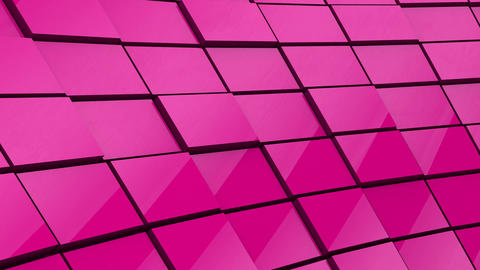Minimalist Reflective Magenta Cubic Blocky Wall 3D Background Animation Animation