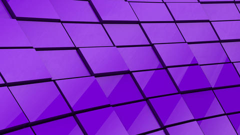 Minimalist Reflective Purple Cubic Blocky Wall 3D Background Animation Animation