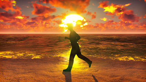 Sportsman runs along the beach ocean at sunrise. Beautiful summer looped Animation