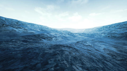 4K Wide Angle Wild Frozen Rocky Terrain Timelapse 3D Animation Animation