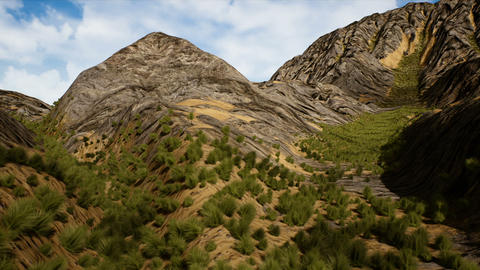Natural Highland Grassfield with Camera Crane Moves Up 3D Animation Animation