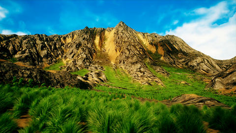 Lush Summer Shrublands and Rocky Mountain Peak 3D Animation Animation