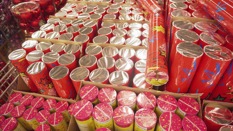 SUMY, UKRAINE - DEC 12, 2018: Christmas Crackers also known as bons-bons in a Footage