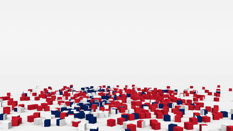 Flag of Norway created from 3d cubes in slow motion Animation