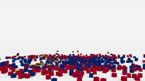 Flag of Liechtenstein created from 3d cubes in slow motion Animation