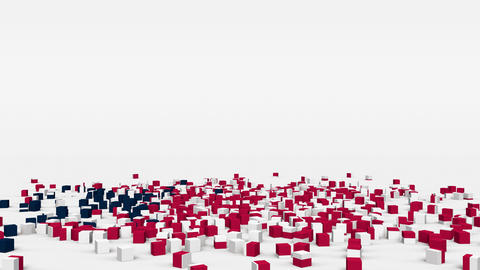 Flag of Liberia created from 3d cubes in slow motion Animation