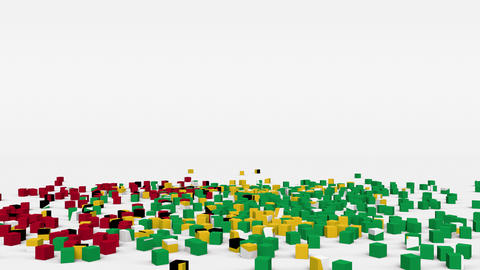 Flag of Guyana created from 3d cubes in slow motion Animation