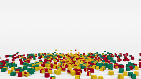 Flag of Grenada created from 3d cubes in slow motion Animation