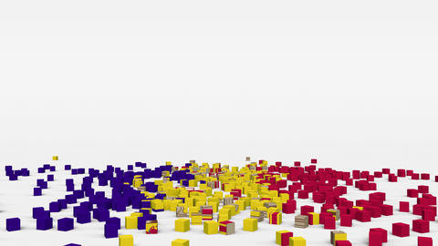 Flag of Andorra created from 3d cubes in slow motion Animation