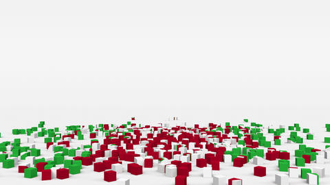 Flag of Burundi created from 3d cubes in slow motion Animation