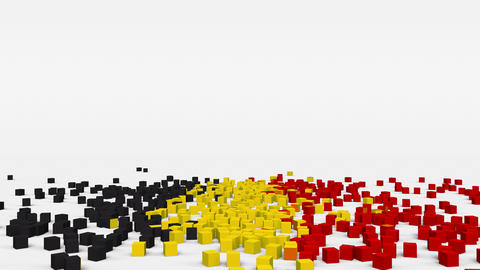 Flag of Belgium created from 3d cubes in slow motion Animation