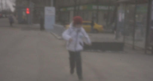 Happy child running to the camera, retro style video Footage