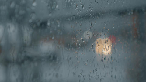 Looking through the window with raindrops Footage