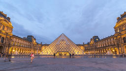 Paris France time lapse 4K, Louvre Museum Pyramid day to night timelapse Footage