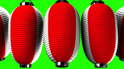 Red and white paper lantern on green chroma key Animation