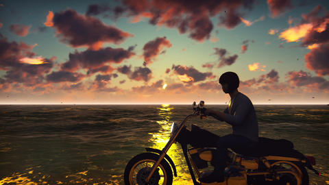 Motorcyclist on a motorbike on the beach against the ocean, the sky, during Animation