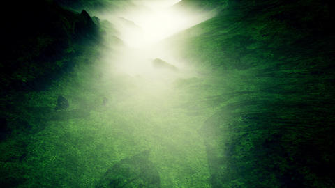 4K Aerial View of Mysterious Foggy Valley 3D Animation Animation