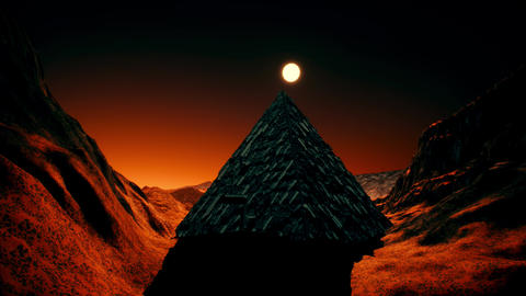 4K Alien Sci-Fi Pyramid on Red Planet Cinematic 3D Animation Animation