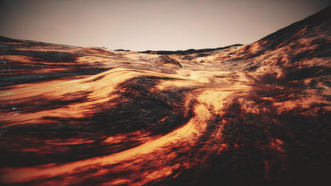 4K Camera Pans Over Molten Rock Flow Cinematic 3D Animation Animation