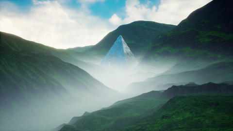4K Enigmatic Alien Pyramid in Mountain Valley Sci-fi 3D Animation- Animation