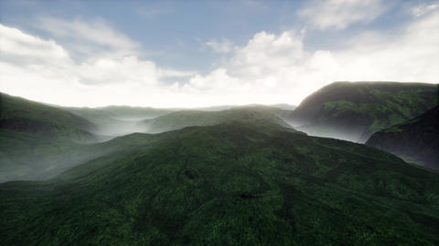 4K Cinematic Aerial View of Grassy Green Highland 3D Animation Animation