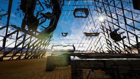 4K Enigmatic Alien Construction in Desert Sci-Fi Scene 3D Animation Animation