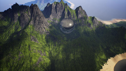 4K Extraterrestrial Enigmatic Sphere Levitating in Mountains Cinematic 3D Ani Animation