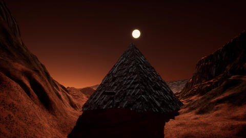 4K Extraterrestrial Fantasy Pyramid on Red Planet Cinematic 3D Animation Animation