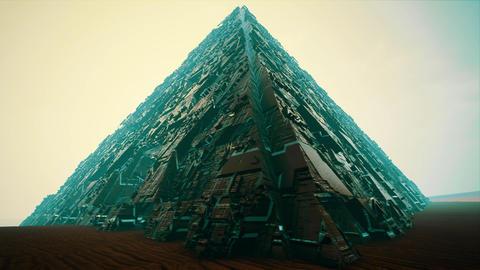 4K Extraterrestrial Sci-Fi Pyramid in Desert Fantasy 3D Animation Animation