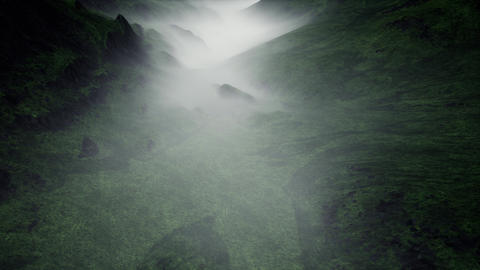 4K Flying over Mysterious Foggy Valley 3D Animation Animation