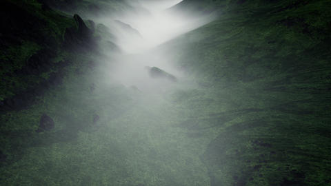 4K Flying over Mysterious Foggy Valley 3D Animation Stock Video Footage