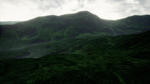 4K Green Fields Highland Cinematic Aerial 3D Animation Animation