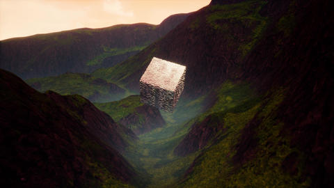 4K Levitating Extraterrestrial Cube in Mountain Valley Cinematic 3D Animation Animation