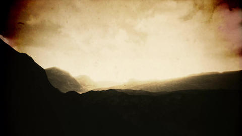 4K Misty Highlands Aerial Vintage 3D Animation Animation