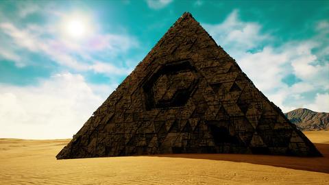 4K Mysterious Alien Pyramid in Desert 3D Animation Animation