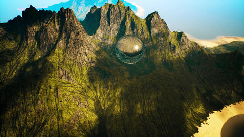 4K Mysterious Alien Sphere Levitating in Mountains Cinematic 3D Animation Animation