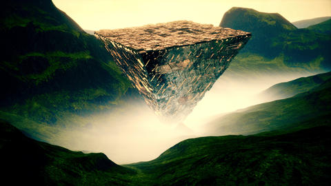 4K Reflective Mysterious Upside Down Pyramid Cinematic 3D Animation Animation