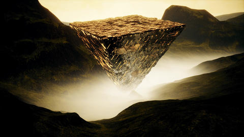 4K Reflective Upside Down Fantasy Pyramid in Misty Valley Cinematic 3D Animat Animation