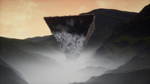 4K Upside Down Alien Pyramid in Misty Valley Cinematic 3D Animation Animation