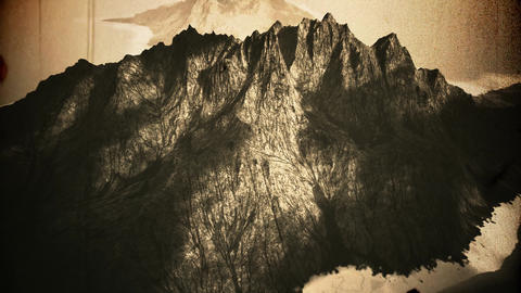 4K Volcanic Mountain Island Cinematic Aerial Vintage 3D Animation Animation