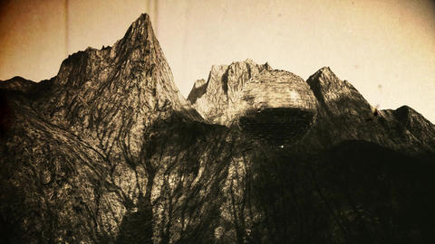 Mystreious Alien Sphere in Rocky Mountain Vintage 3D Animation Animation