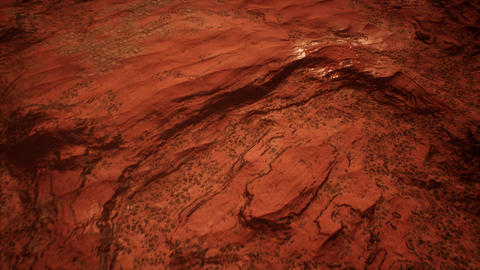 Red Planet Rocky Terrain Aerial Cinematic 3D Animation Animation