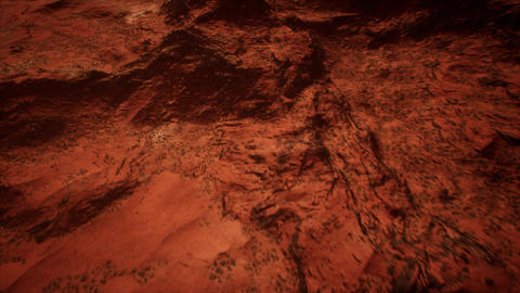 Red Planet Rocky Terrain Aerial Cinematic 3D Animation, Stock Animation