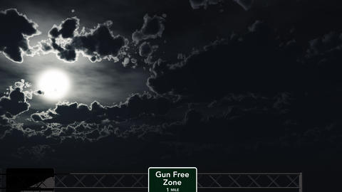 4K Passing Gun Free Zone Sign at Night Animation