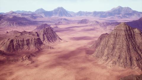 4K Aerial over Eroded Rocky Desert Cinematic 3D Animation Animation